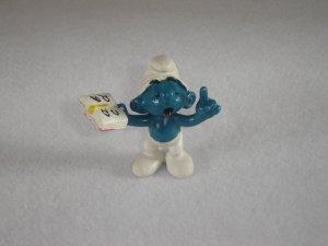 Vintage 1980 Teacher Smurf With Red ABC Book  20059 Schleich PVC