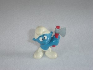 Vintage 1975 Woodcutter Smurf With Axe 20087 Bully Peyo Figure PVC West Germany