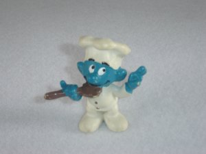 Vintage 1979 Chef Smurf With White Chef Hat and Brown Wooden Spoon 20042 Schleich PVC