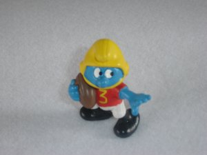 Vintage 1980 American Footbal Player Smurf With Painted 3 Schleich PVC 20132 Portugal