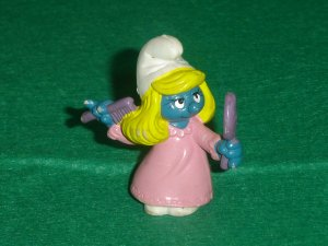 Vintage 1983 Comb And Mirror Smurfette In Long Pink Gown 20182 PVC By Schleich W Berrie