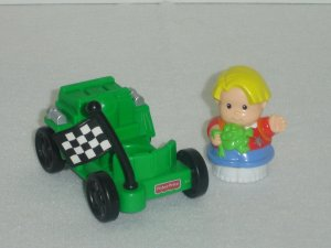 1999 Fisher Price Little People Little Talker Eddie Eddies Big Race Green Go Cart Racing Car 74707