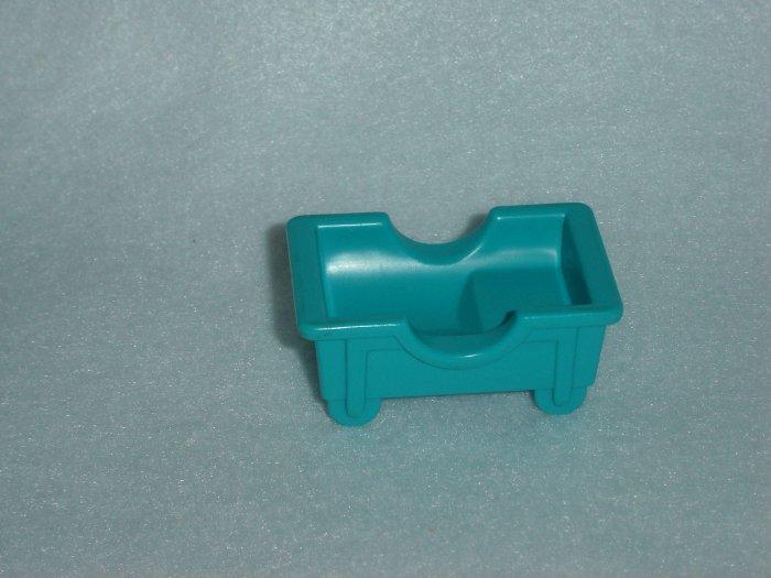 Vintage Fisher Price Little People Childrens Hospital 931 Aqua Blue Crib Babys Bed Cradle