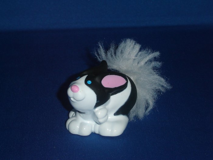 2007 Fisher Price Little People Touch And Feel Black and White Bunny Rabbit Fluffy Tail Newer FP LP