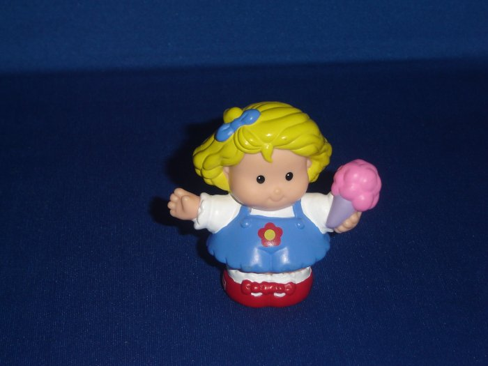 2003 Fisher Price Little People Sarah Lynn Girl With Pink Ice Cream Cone Newer FP LP