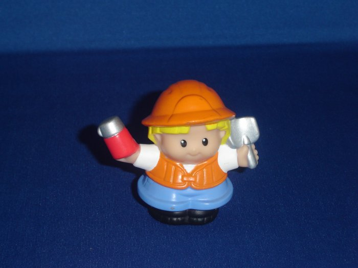 2002 Fisher Price Little People Eddie Construction Worker W Thermos and Shovel Newer FP LP