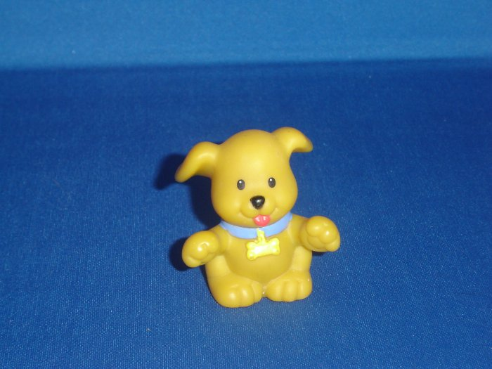 Fisher Price Little People Yellow Brown Puppy Dog For House Barn or Farm Sets Newer FP LP