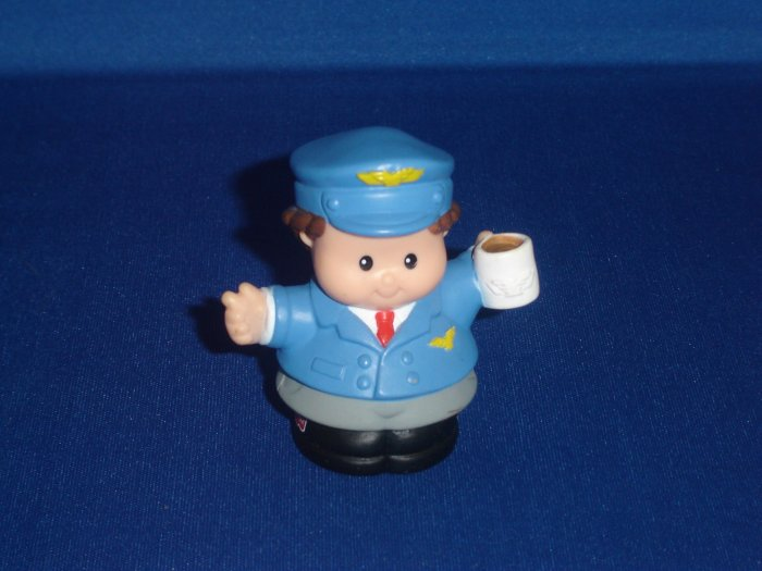 2001 Fisher Price Little People Pilot Holding Coffee Great For Lil Movers Airplane Newer FP LP
