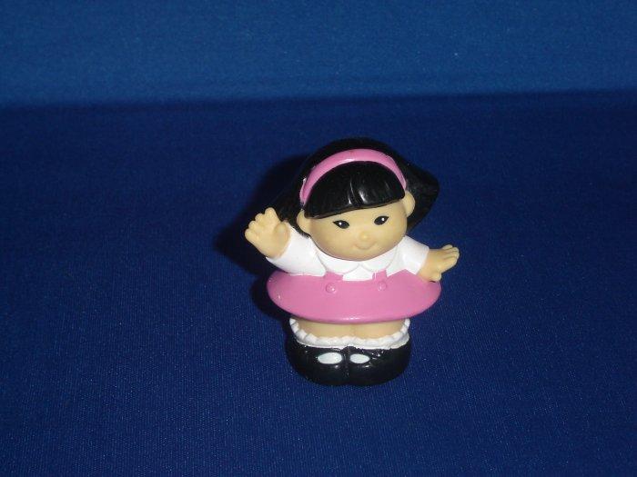 1997 Fisher Price Little People Sonya Lee in Pink Dress Waving Hello Newer FP LP