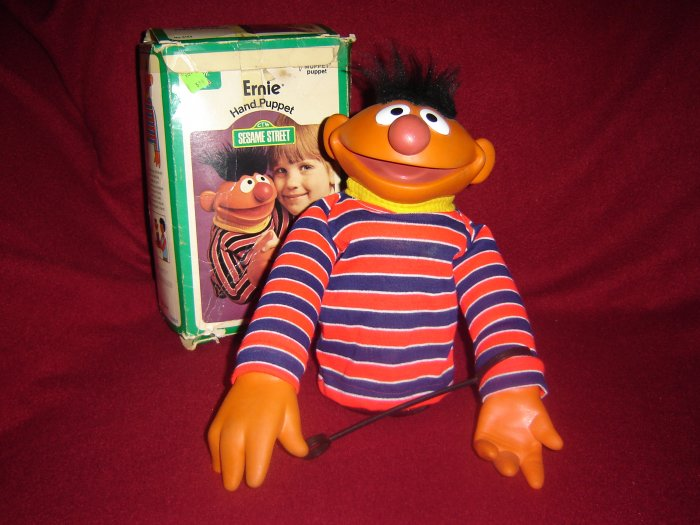 Vintage 1973 ERNIE Hand Puppet With Original Box and Wand From Jim Henson Sesame Street Muppets