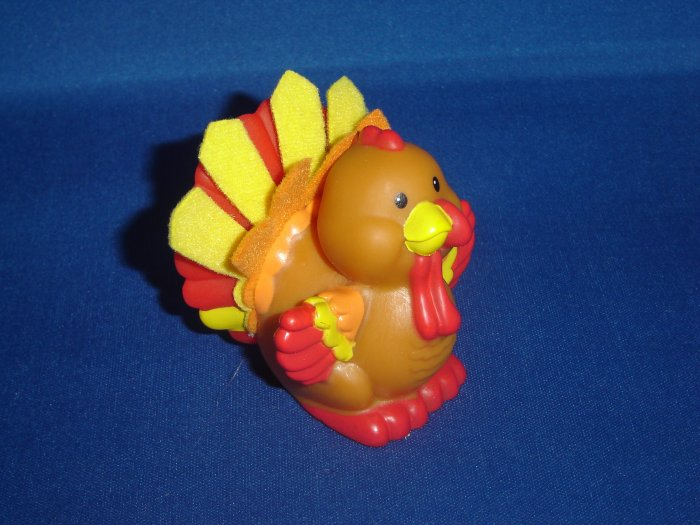 2005 Fisher Price Little People Touch and Feel Brown Turkey w Feathers for Barn Farm Newer FP LP