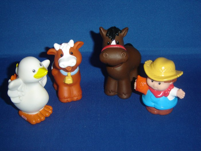 4 Pc Set Fisher Price Little People Horse Cow Goose Farmer For Barn or Farm Newer FP LP
