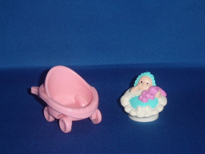 Fisher Price Little People Baby in White Basket W Pink Stroller Newer FP LP