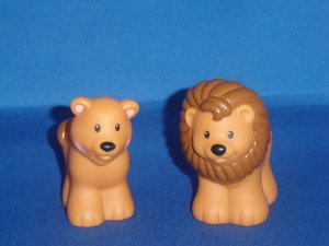 2002 Fisher Price Little People Pair of Male Female Lions For Noahs Ark Set Newer FP LP