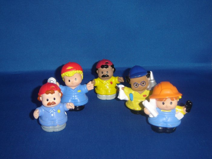 5 Pc Fisher Price Little People Set Construction Workers Mechanics For Garage Car Wash Newer FP LP