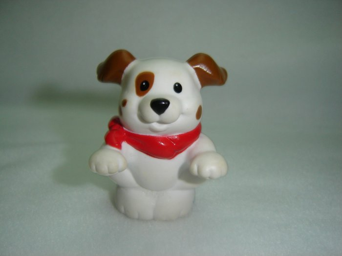 Fisher Price Little People White and Brown Farm Dog Puppy With Red Scarf for Barn Newer FP LP
