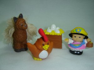 Fisher Price Little People Llama Rooster Sonya Lee and Egg Nest Lot Farm Barn Newer FP LP Touch Feel
