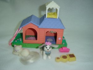 Vintage 1995 Kenner Littlest Pet Shop Garden Tag Pets on the Move Peach House W Dog Cat Food Dish