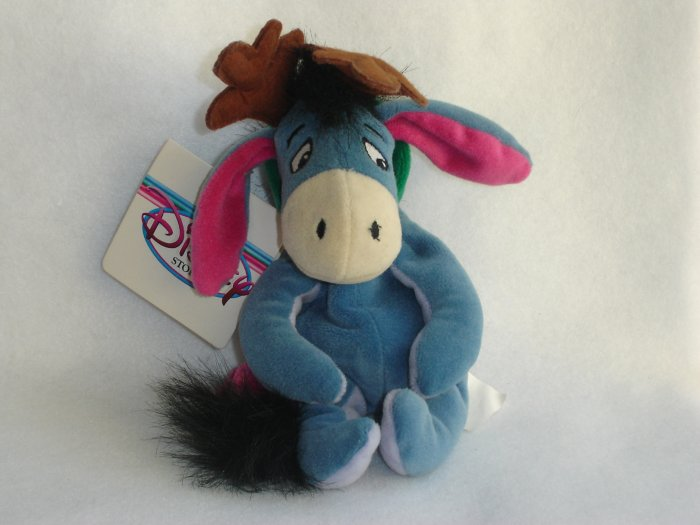 Disney Store Exclusive Plush EEYORE Reindeer from Winnie the Pooh 9 Inch Christmas Beanie Doll Toy