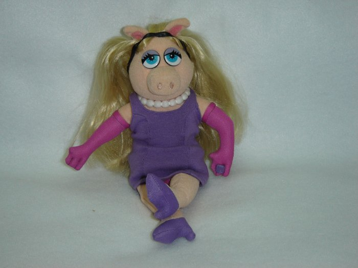 Jim Henson Productions Plush Muppets Miss Piggy  Purple Dress Doll Disney Muppet Vision 3D 11 Inches
