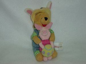 Disney Store Exclusive Winnie The Pooh and Piglet W Easter Egg Plush Stuffed Toy Beanie for Spring