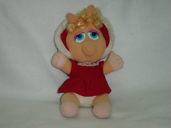 Vintage 1987 Jim Henson Associates Christmas Baby Miss Piggy Plush W Hat and Dress 8 Inches New