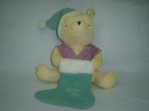 Disney Store Exclusive Holiday Plush Winnie the Pooh With 1999 Christmas Stocking