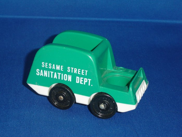 Vintage Fisher Price Little People Green Sanitation  Truck From The 938 Sesame Street Set