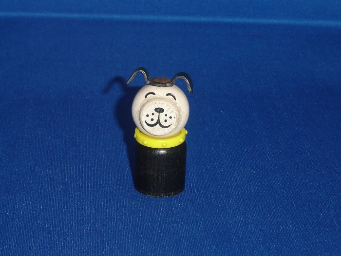 Vintage Fisher Price Little People All Wooden Straight Body Black Dog With Yellow Collar