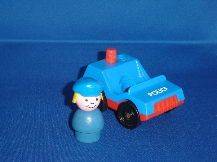 Vintage Fisher Price Little People Play Family Village Police Car and Police Girl 997 From 1973