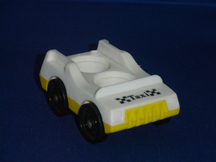 Vintage Fisher Price Little People Yellow White Taxi Car Two Seats