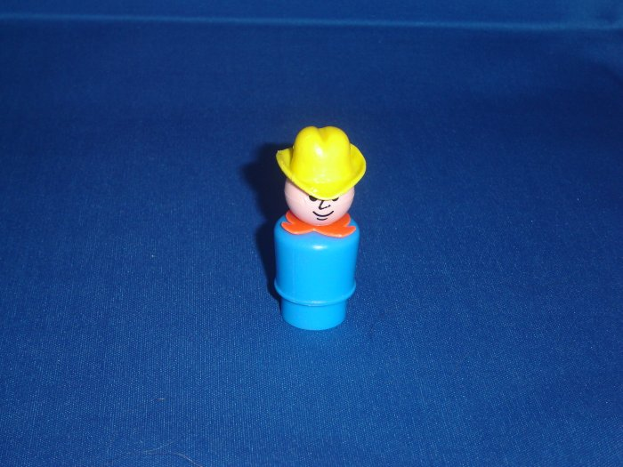 Vintage Fisher Price Little People Play Family Farm Cowboy Farmer Dad Blue with Yellow Hat