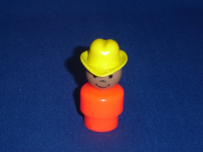 Vintage Fisher Price AA African American Little People Boy Orange Body Yellow Cowboy Hat 192