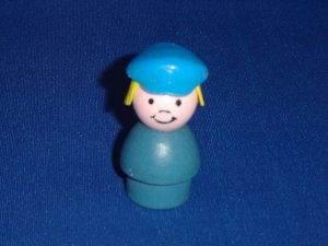 Vintage Fisher Price Little People Play Family Village Wood Blue Police Girl Woman 997 From 1973