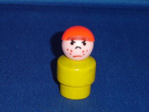 Vintage Fisher Price Little People Wood Yellow Mad Boy Red Cap W Garage Village Airport 930 997 996