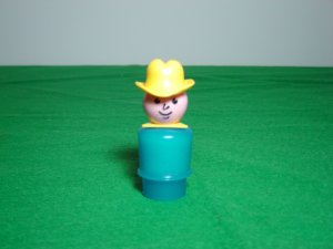 Vintage Fisher Price Little People Blue Farmer Cowboy for 915 and 2501 Farm