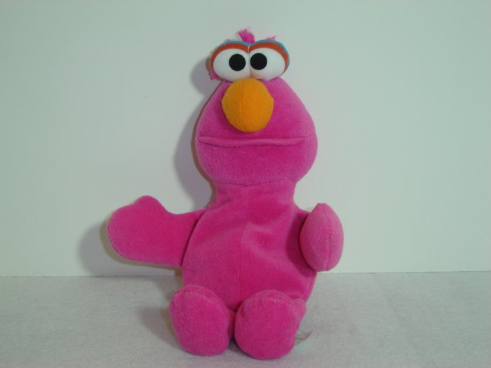 1997 Jim Henson Muppets Sesame Street PINK TELLY MONSTER Plush Beanie 8 Inches Tyco