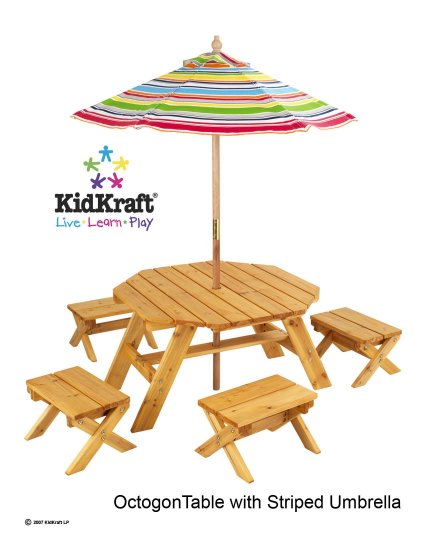KidKraft Outdoor Octagon Table with Umbrella
