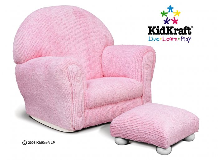 Pink Chenille Rocker with Ottoman
