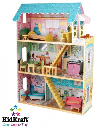 KidKraft Georgia Peach Wooden Dollhouse With Furniture