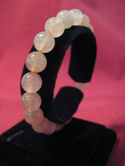 Pink Round Natural Gemstone 10mm Beads Bracelet #2431