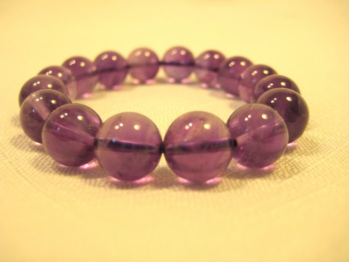 Purple Round Natural Gemstone Beads Bracelets #2448