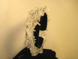Crystal White Gemstone Beads Chip Bracelet #2383