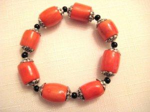 Orange Coral & Round Beads Bracelet