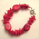 "bracelet -8.5"" Apple red coral & 3 strands coral branch"