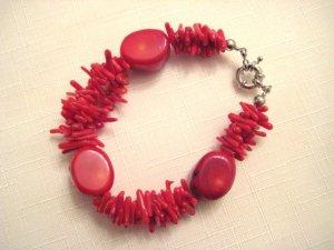 """bracelet -8.5"""" Apple red coral & 3 strands coral branch"""