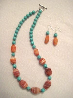 "Agate & Turquoise Necklace 18.5"", Earring set"