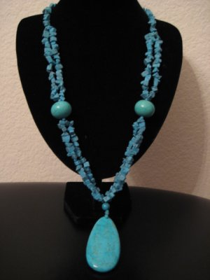"""Blue Turquoise Long Necklace 31"""""""