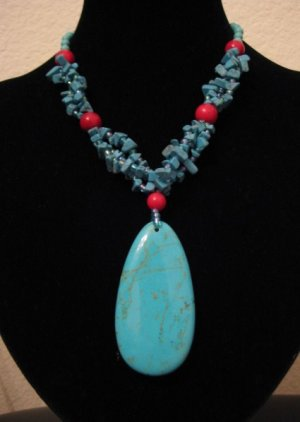 """Blue Turquoise & Red Coral Necklace 18"""""""