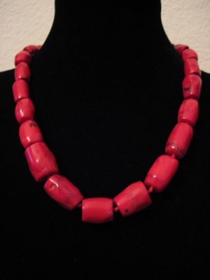 """Red Coral Tude Beads Necklace 20"""""""